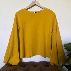 Mustard yellow TopShop blouse.